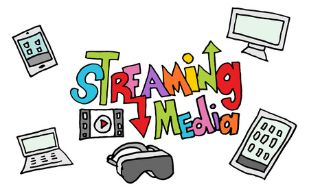 streaming: An image of a streaming media doodle set