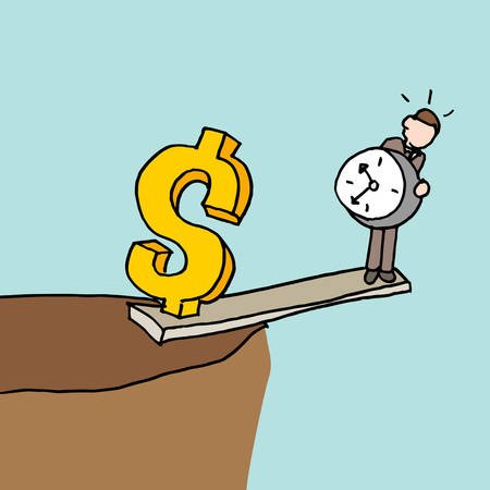 An image of a man at the edge of a cliff balancing time and money. 向量圖像