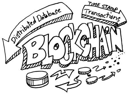 Una imagen de un conjunto del doodle blockchain. Ilustración de vector