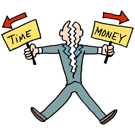 時間とお金のバランスをとるために奮闘人間のイメージ。  イラスト・ベクター素材