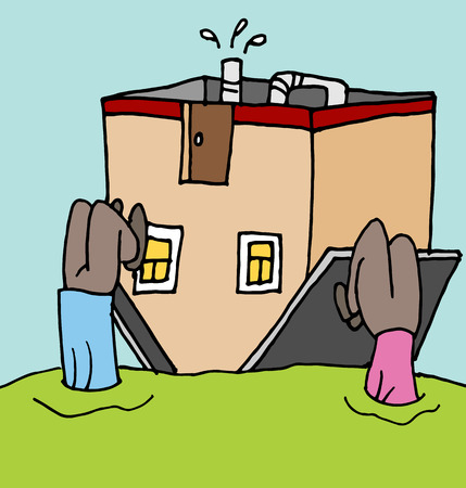 upside: An image of a people upside down on their home mortgage.
