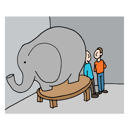 An image of a business meeting elephant in the room. Ilustração