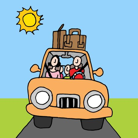 family car: An image of a family car road trip. Illustration
