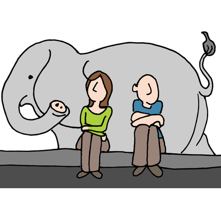 curb: An image of a worried couple elephant in the room. Illustration