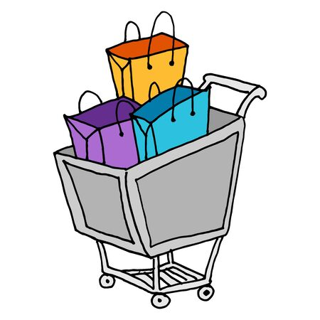 Een afbeelding van een winkelwagentje met zakken.