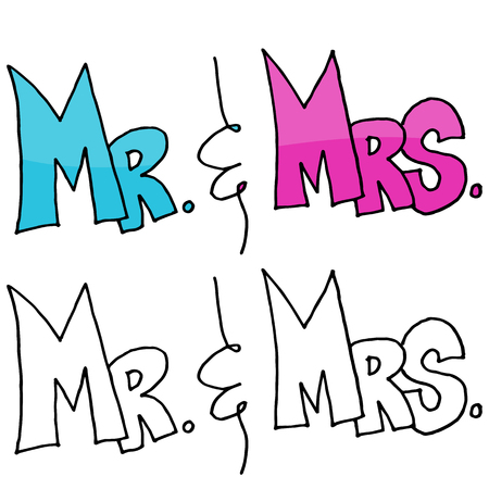mr and mrs: An image of a Mr. and Mrs. Message. Illustration