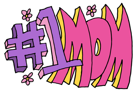 numbers clipart: An image of a number one mom message.