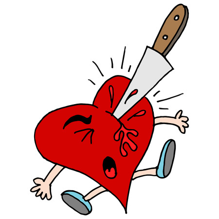 stabbed: An image of a stabbed in the heart metaphor.
