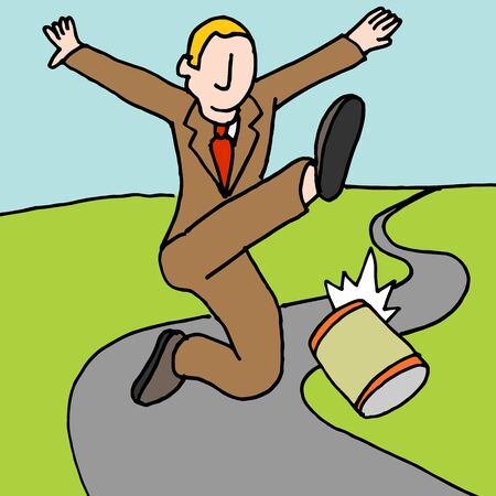 can: An image of a man kicking can down the road metaphor. Illustration