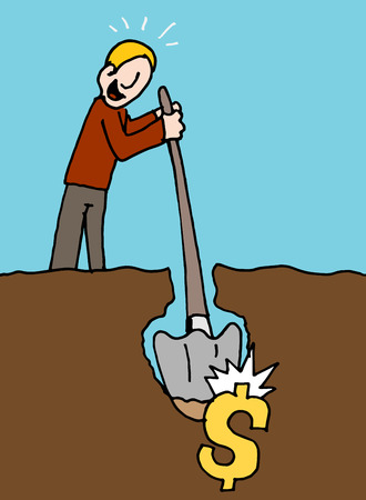 hits: An image of a man hits pay dirt metaphor. Illustration