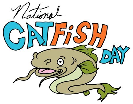 An image of a national catfish day. Çizim