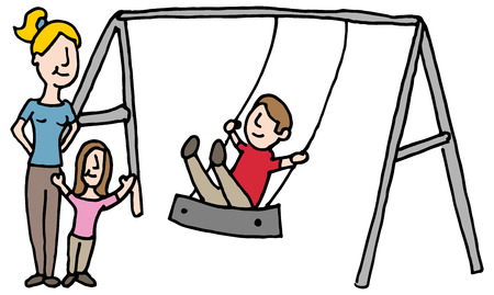 sitter: An image of a baby sitter with kids on swing set.