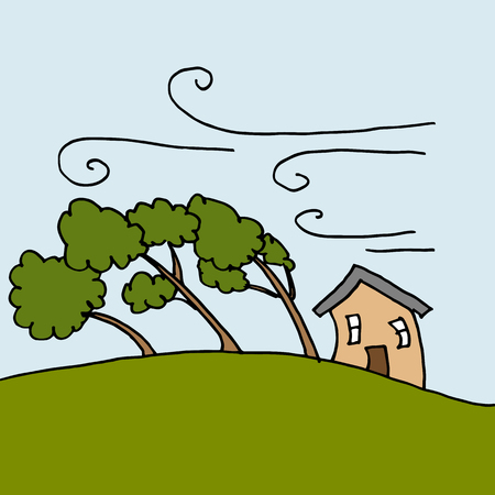 An image of heavy winds bending trees on a windy day.