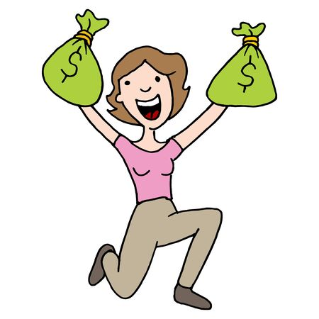 woman holding money: An image of a woman with runaway savings moneybag Illustration