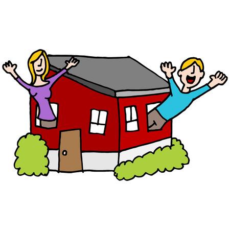 personas saludando: Una imagen de un pueblo saludando desde una casa peque�a.