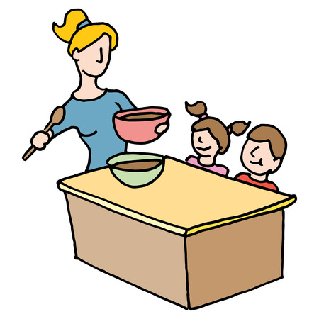 sitter: An image of a baby sitter cooking for children