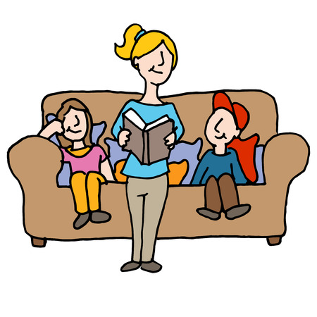 nanny: An image of a baby sitter reading to children.
