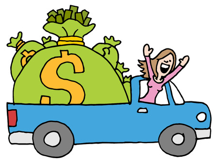 runaway: An image of a woman driving away with runaway savings moneybags. Illustration