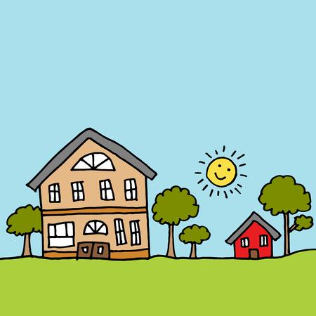 Una imagen de una casa grande junto a una casa pequeña.