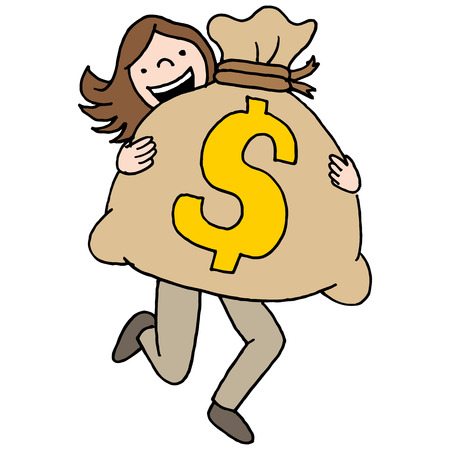 moneybag: An image of a woman carrying a large moneybag