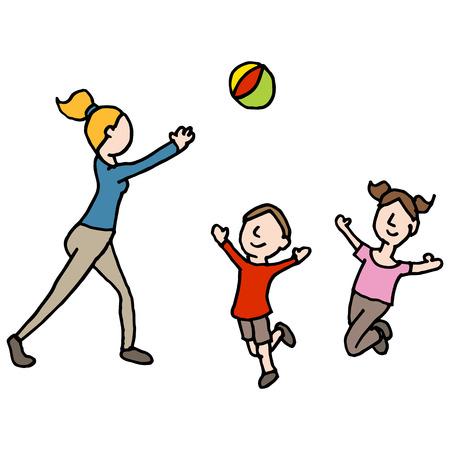 Een afbeelding van een baby-sitter met een bal spelen met kinderen