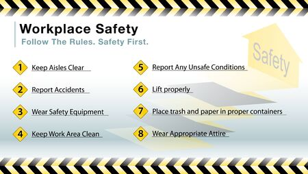 workplace safety: An image of a workplace safety slide. Illustration