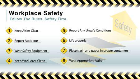Un'immagine di una diapositiva sicurezza sul lavoro. Archivio Fotografico - 56428769