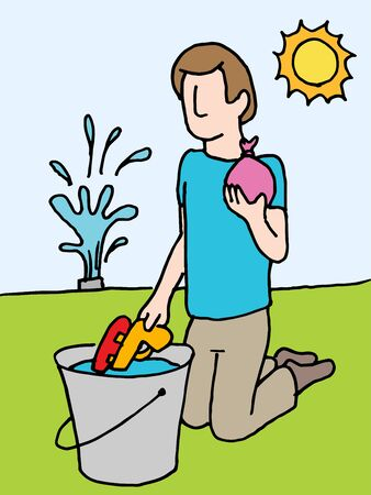 An image of a man reloading water gun and water balloon. Иллюстрация