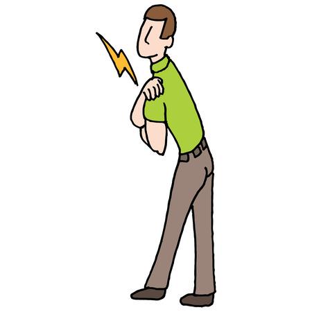 An image of a man with shoulder pain medical problem. Ilustração