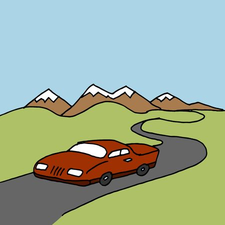 winding: An image of a car driving on a winding road.