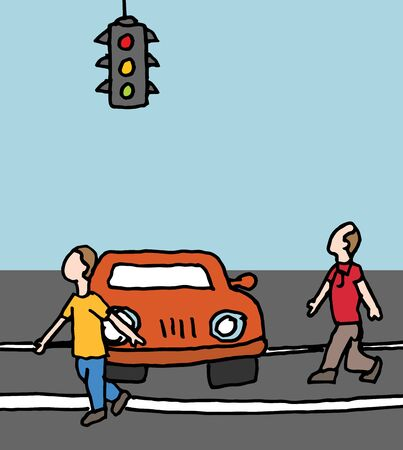 stopped: An image of a car blocking a crosswalk. Illustration