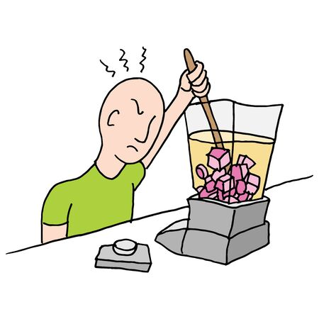 jammed: An image of a man stirring a stuck blender. Illustration