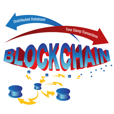 distributed: An image of a blockchain chart. Illustration