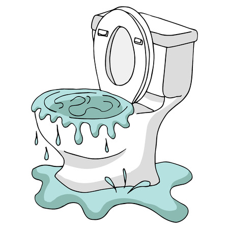 white backing: An image of a Clogged Toilet. Illustration