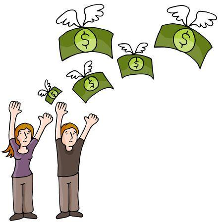お金を失ういくつかのイメージ。  イラスト・ベクター素材