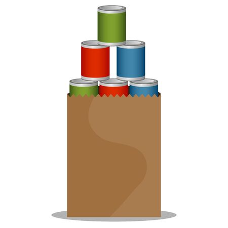 donation drive: An image of a Canned Food Drive bag. Illustration