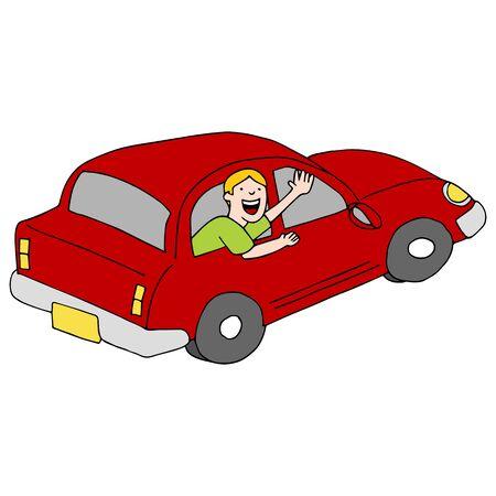 Ein Bild von einem Passagier winken Abschied von einem Auto.