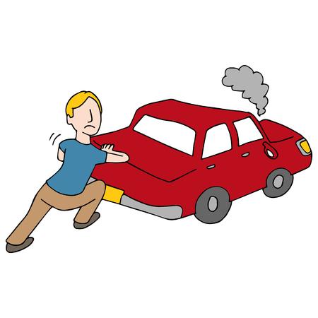 Een afbeelding van een man duwen uitgesleten auto.