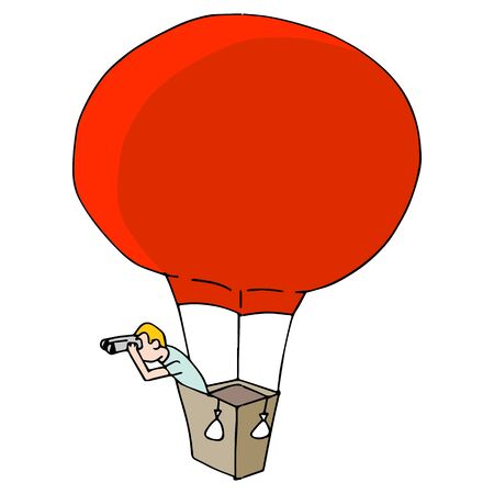 An image of a Man Searching with Binoculars in Hot Air Balloon. Ilustracja