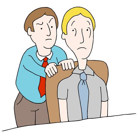 Een afbeelding van een manager op zoek naar werknemers schouder.