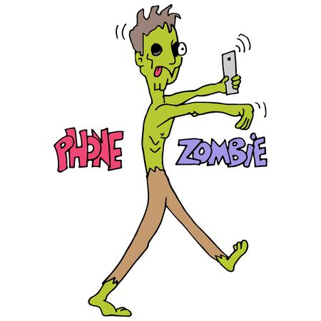 addicted: An image of a phone addicted zombie.
