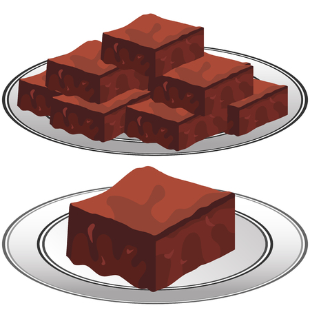 fudge: An image of a plate of Chocolate Fudge Brownies. Illustration