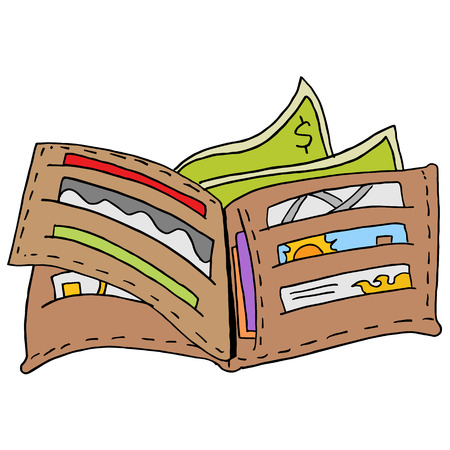 Ein Bild von einem Retro offenen Mens Brieftasche Brieftasche. Vektorgrafik