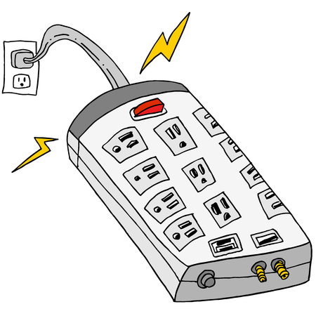 An image of a plugged in surge protector. Illustration
