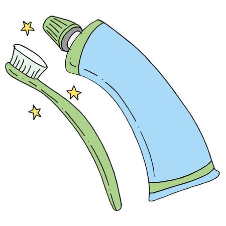 歯ブラシと歯磨き粉のチューブのイメージ。