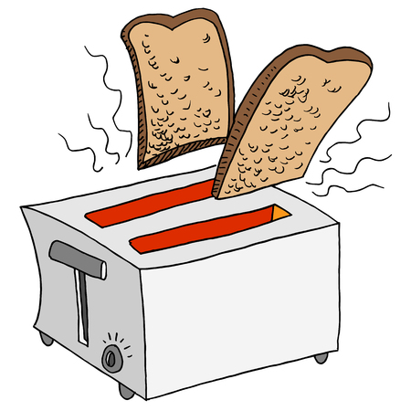 An image of a retro toaster toasting bread.