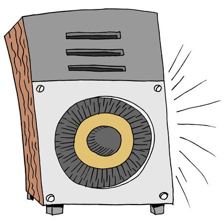An image of a retro loud big speaker. Иллюстрация