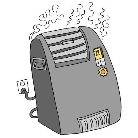 전기 휴대용 공간 히터의 이미지입니다. 일러스트