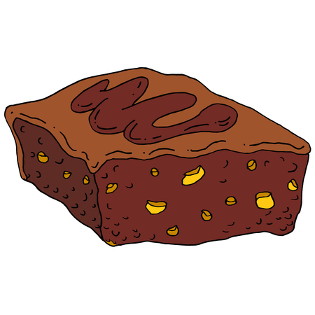 fudge: An image of a chocolate fudge brownie. Illustration