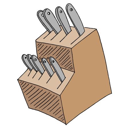 부엌 칼 블록 집합의 이미지를 설정합니다.